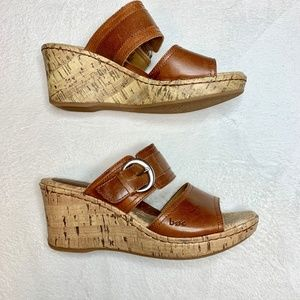 BOC Brown Leather Platform Wedge Sandal